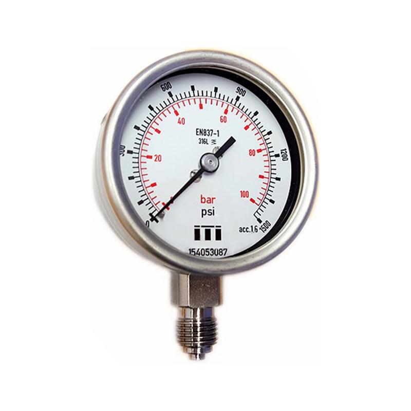 63mm All SS Process Pressure Gauge DIN Case